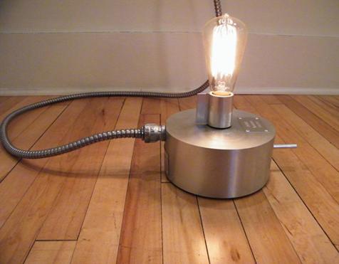 indoors steampunk light art manufactured in a workshop