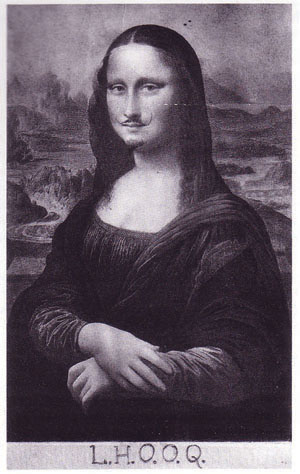 Mona Lisa in Black and White with moustache