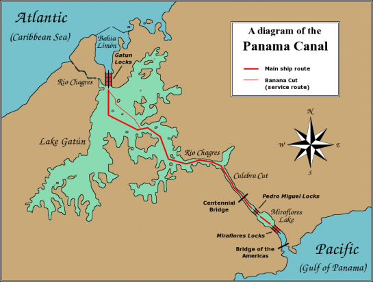 brown map of panama and the canal of central America
