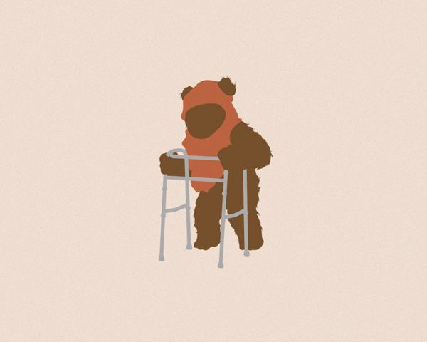 Ewok Walking with a Walker - By David Schwen