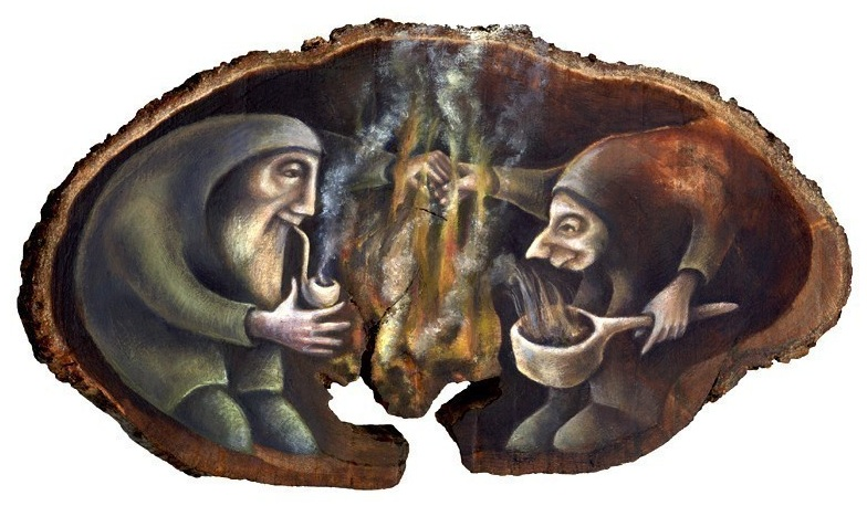 artwork by Dartmoor artist Rima Staines oldcouple smoking a pipe and stew