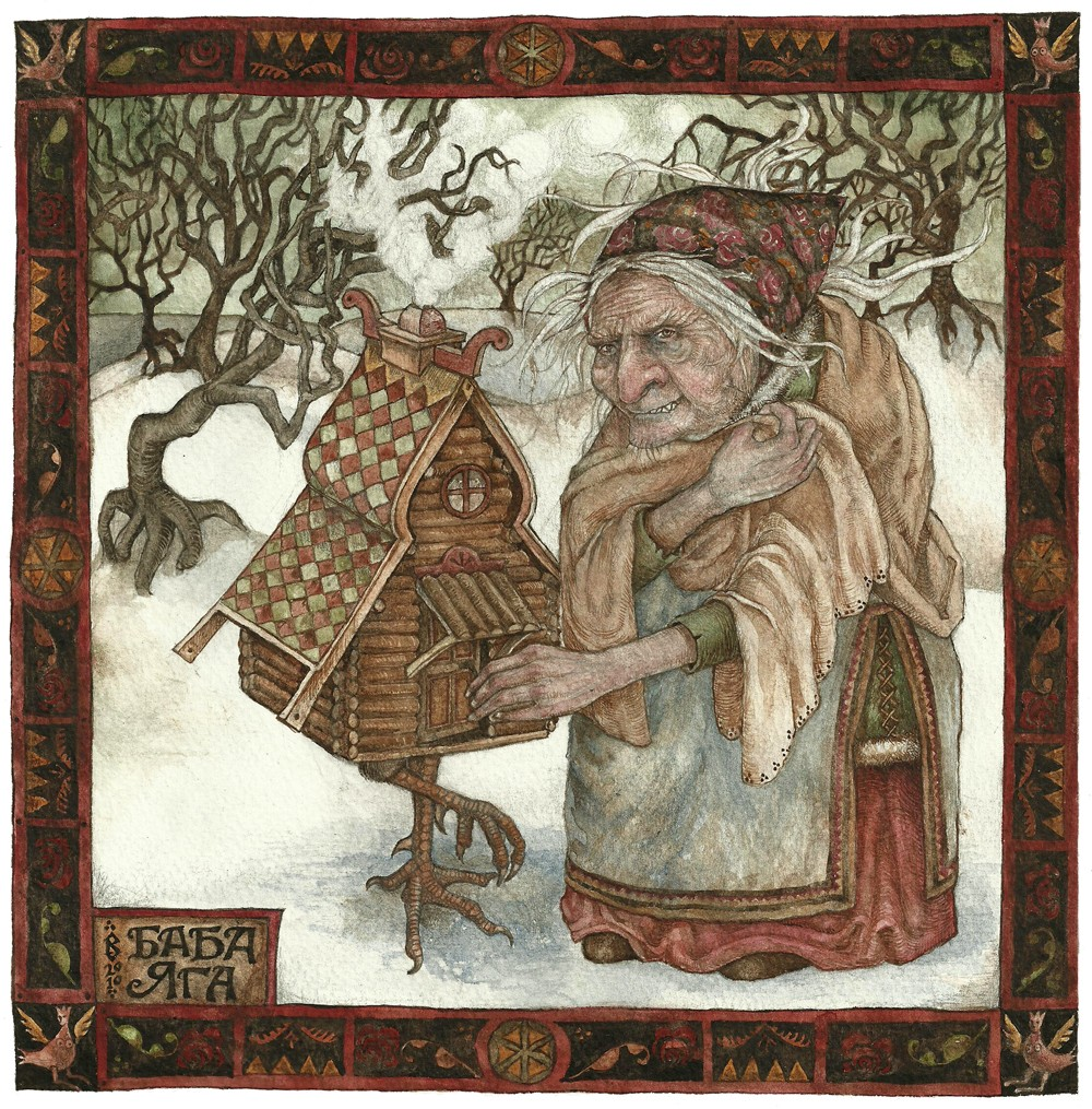artwork by Dartmoor artist Rima Staines baba yaga