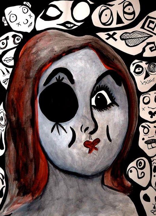 woman missing an eye in an art piece by Meghan Clarkston