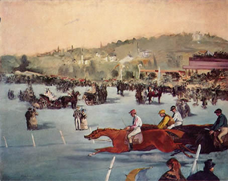 19th century art by Manet - painting: Races at the Bois de Boulogne