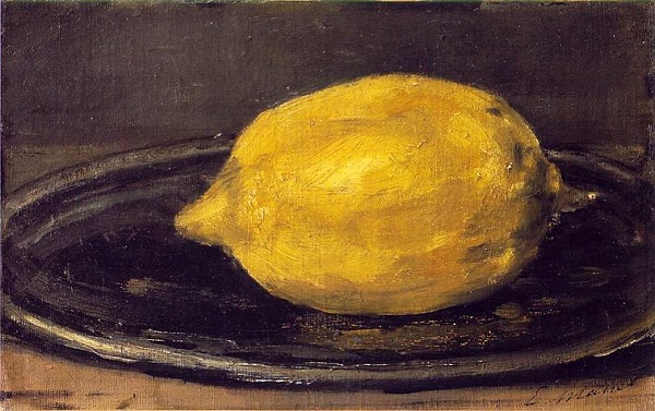 Manet painting of a lemon from the 19th century French artist