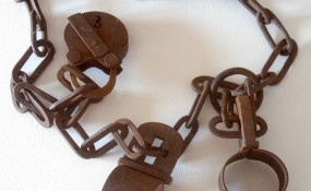 Old, rusted, brown shackles