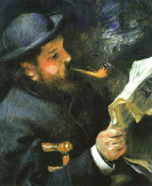 Pierre August Renoir painted Claude Monet Reading painting from the 19th century