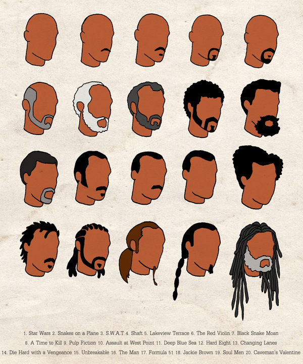 Samuel L's Hair Filmography - Illustration by Derek Eads