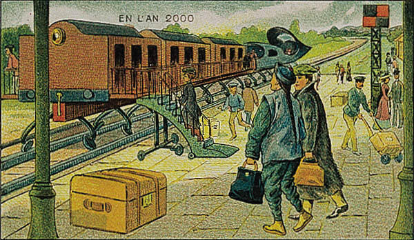 A portrait of a train station in the year 2000 by Villemard (Utopie 1910)