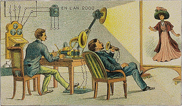 A portrait of a movie of the future in the year 2000 by Villemard (Utopie 1910)
