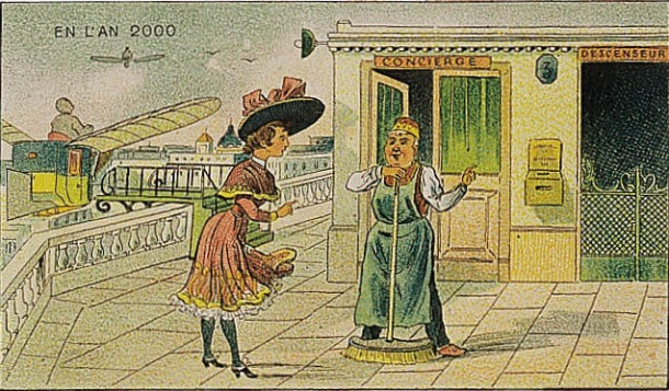 A portrait of life in the future, in the year 2000 by Villemard (Utopie 1910)