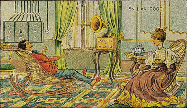 A portrait of a couple listening to the newspaper in the future, in the year 2000 by Villemard (Utopie 1910)