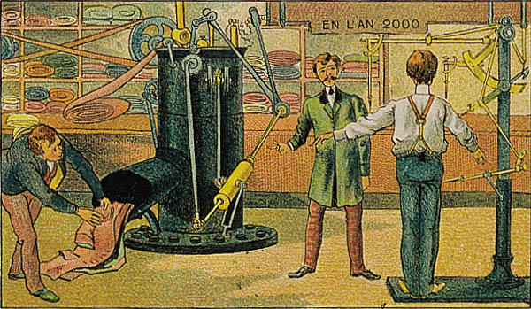 A portrait of automation in the future, in the year 2000 by Villemard (Utopie 1910)