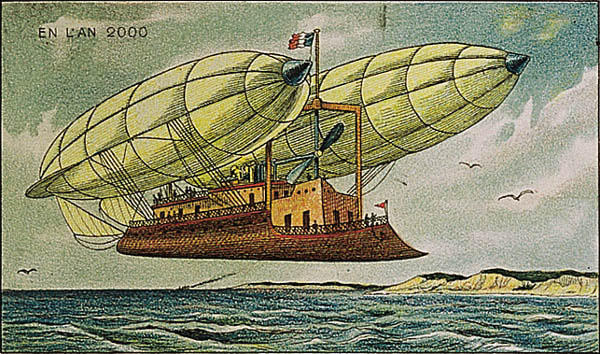 A portrait of a flight boat of the future, in the year 2000 by Villemard (Utopie 1910)