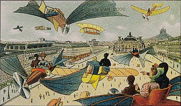A portrait of planes (flight) in future, in the year 2000 by Villemard (Utopie 1910)