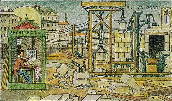 A portrait of construction in the year 2000 by Villemard (Utopie 1910)