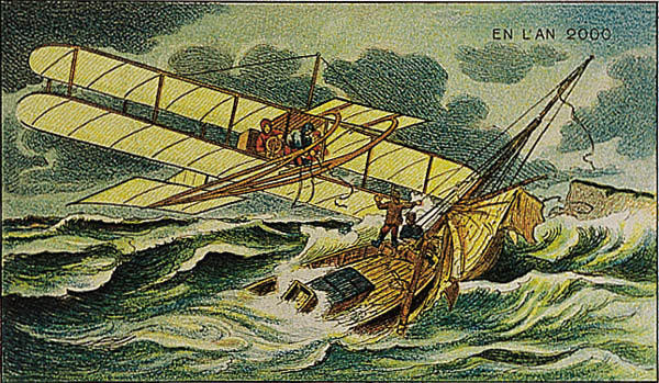 A portrait of planes and boats in future, in the year 2000 by Villemard (Utopie 1910)