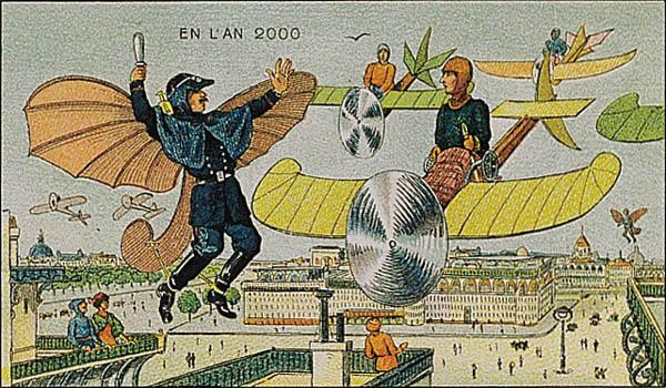 A portrait of flight in future, in the year 2000 by Villemard (Utopie 1910)