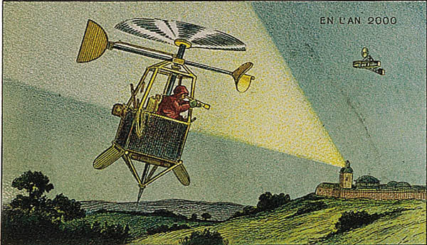 A portrait of flight in future, in the year 2000 by Villemard (Utopie 1910)