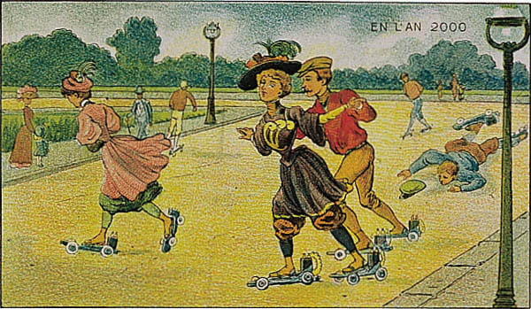 A portrait of a roller skating in the year 2000 by Villemard (Utopie 1910)