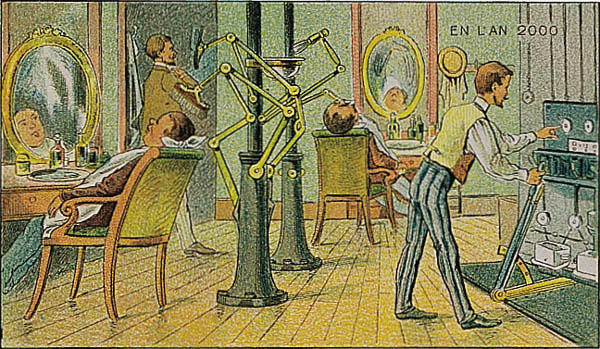 A portrait of an automated barber in the year 2000 by Villemard (Utopie 1910)