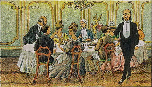A portrait of dinner in the year 2000 by Villemard (Utopie 1910)