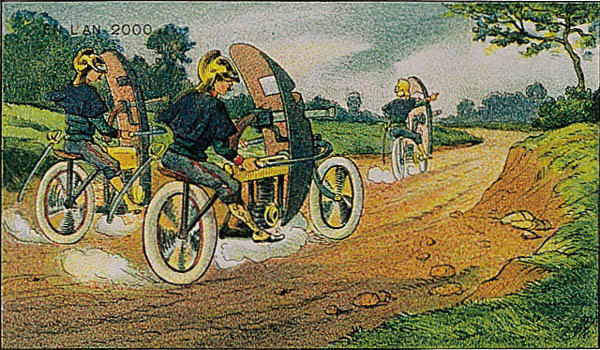 A portrait of racing mini tanks in the year 2000 by Villemard (Utopie 1910)