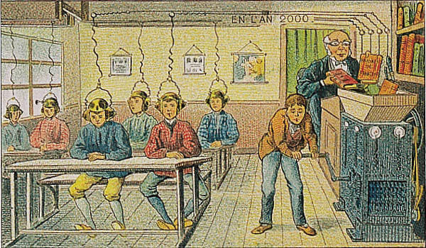 A portrait of a school of the future in the year 2000 by Villemard (Utopie 1910)