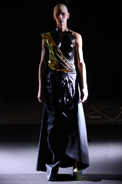 Runway photograph of a Yuima Nakazato's Fashion Show featuring a model in a beautiful dress