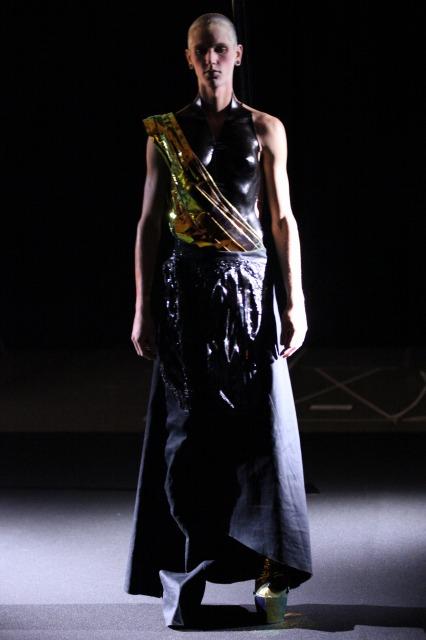 Runway photograph of a Yuima Nakazato's Fashion Show featuring a model in a beautiful dress