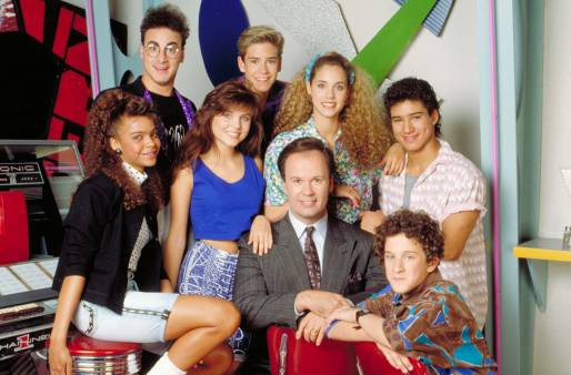 The Cast of Saved By The Bell in cluding Mr.Belding, AC Slater, Screech, Jessie, Lisa, Kelly & Zack