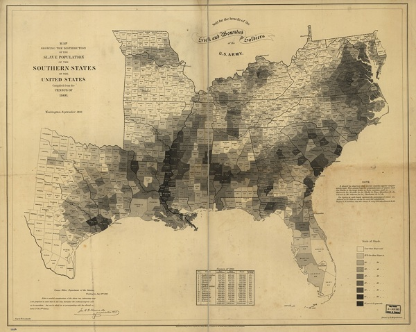 19th century map (1861) showing slaves population distribution in the southern states and the united states