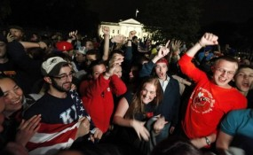 People celebrating Osama bin Laden's death