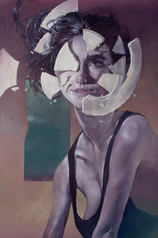 "oil painting on linen, ""a beginning or an end"" by Vancouver's Eli Horn (looks like jennifer Connelly, oil on linen)"
