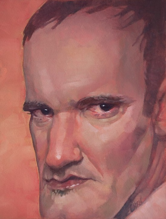 quentin tarantino portrait oil painting art by Eli Horn (oil on board)