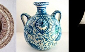 Crafts, such as a lamp, a mirror, and pottery, that were featured on etsy