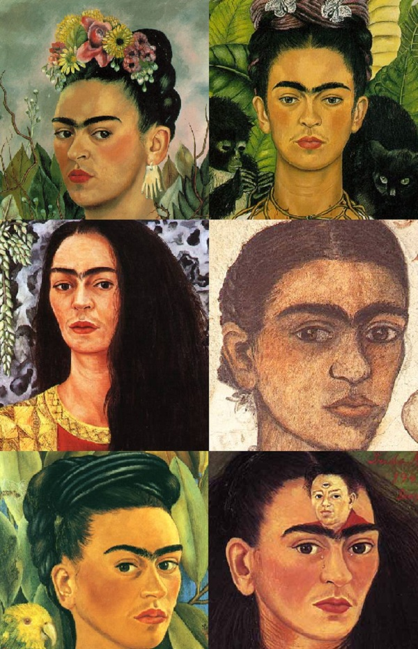 Frida Khalo's faces/self-portraits montage