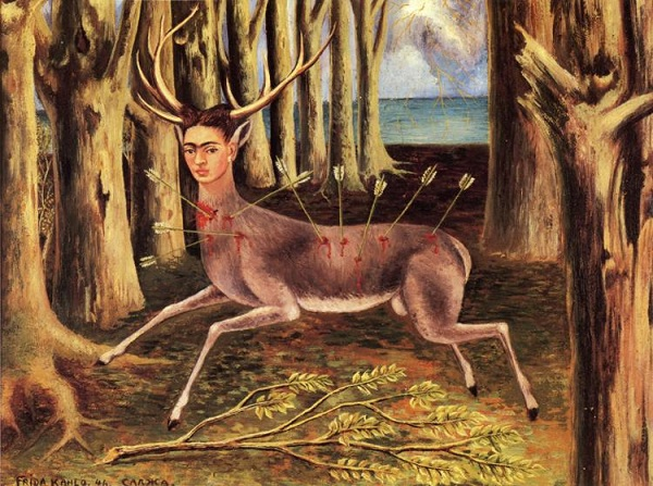 Frida Kahlo painting featuring herself as a deer (animal) being hunted and killed