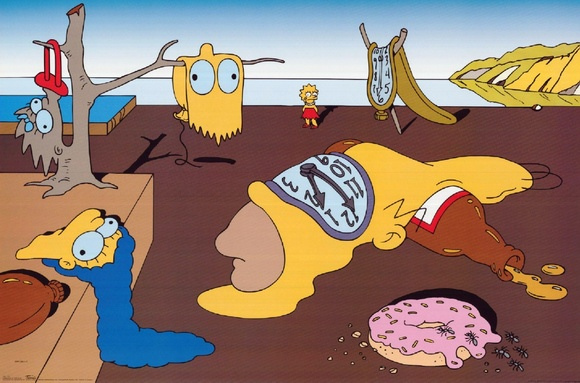 The Simpsons SALVATORE DALI The Persistence of Memory mock painting