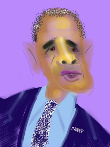 a portrait by Jonathan Schmock of President Obama