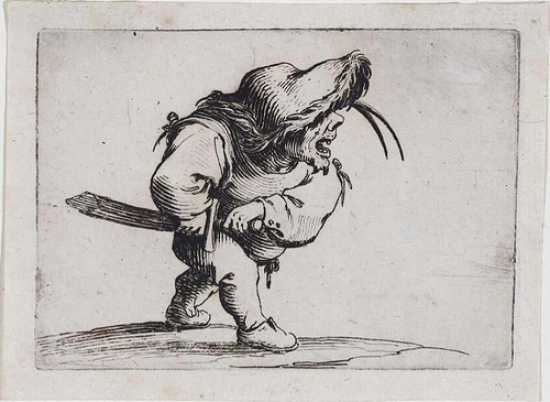 17th century French printmaker Jacques Callot artwork featuring little men with swords and musical instruments