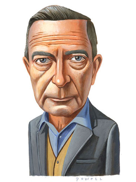 Caricature of John Cheever by Charlie Powell