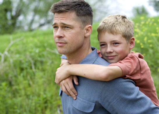 Brad Pitt and a boy in a still from the Terrence Mallick film The Tree Of Life (2011)