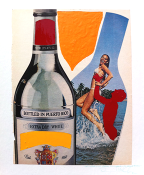 a work showing booze bottle and a girl by David Phillips is a Los Angeles-based painter, digital, video artist