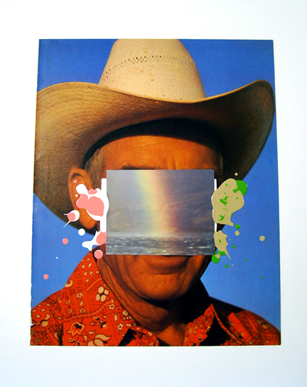 a work showing cowboy face cut out by David Phillips is a Los Angeles-based painter, digital, video artist