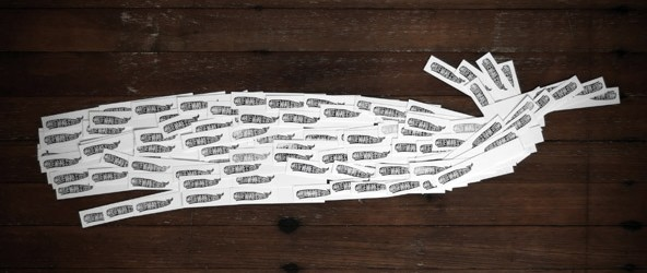 White whale made of stamp collection photograph