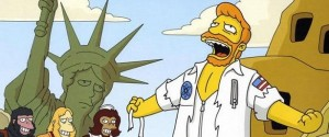 Screenshot of simpsons cartoon seventh season episode a fish called selma planet of the apes musical troy mclure dr. zaius
