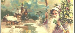Old fashioned Santa Claus with tree painting