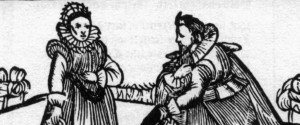 Lady and Gent Elizabethan style woodcut