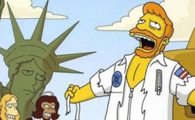Screenshot of Simpsons A Fish Called Selma episode with Troy McClure in the Planet of the Apes musical